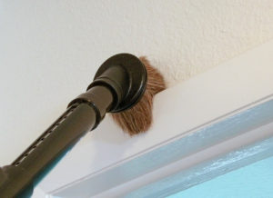 Picture of the ZeroG vacuum cleaner cleaning a window sill